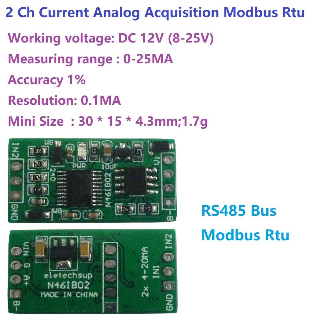 4-20MA à RS485 2 canaux DC 12V 0-25MA module dacquisition analogique 12Bit carte ADC Modbus RTU PLC