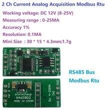 4-20MA à RS485 2 canaux DC 12V 0-25MA module d'acquisition analogique 12Bit carte ADC Modbus RTU PLC