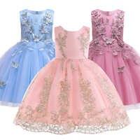 Hot Sell 2019 Summer Girl Dress Princess Wedding Dress Girl Embroidered applique Birthday Dresses Kids Christmas Party Dresses
