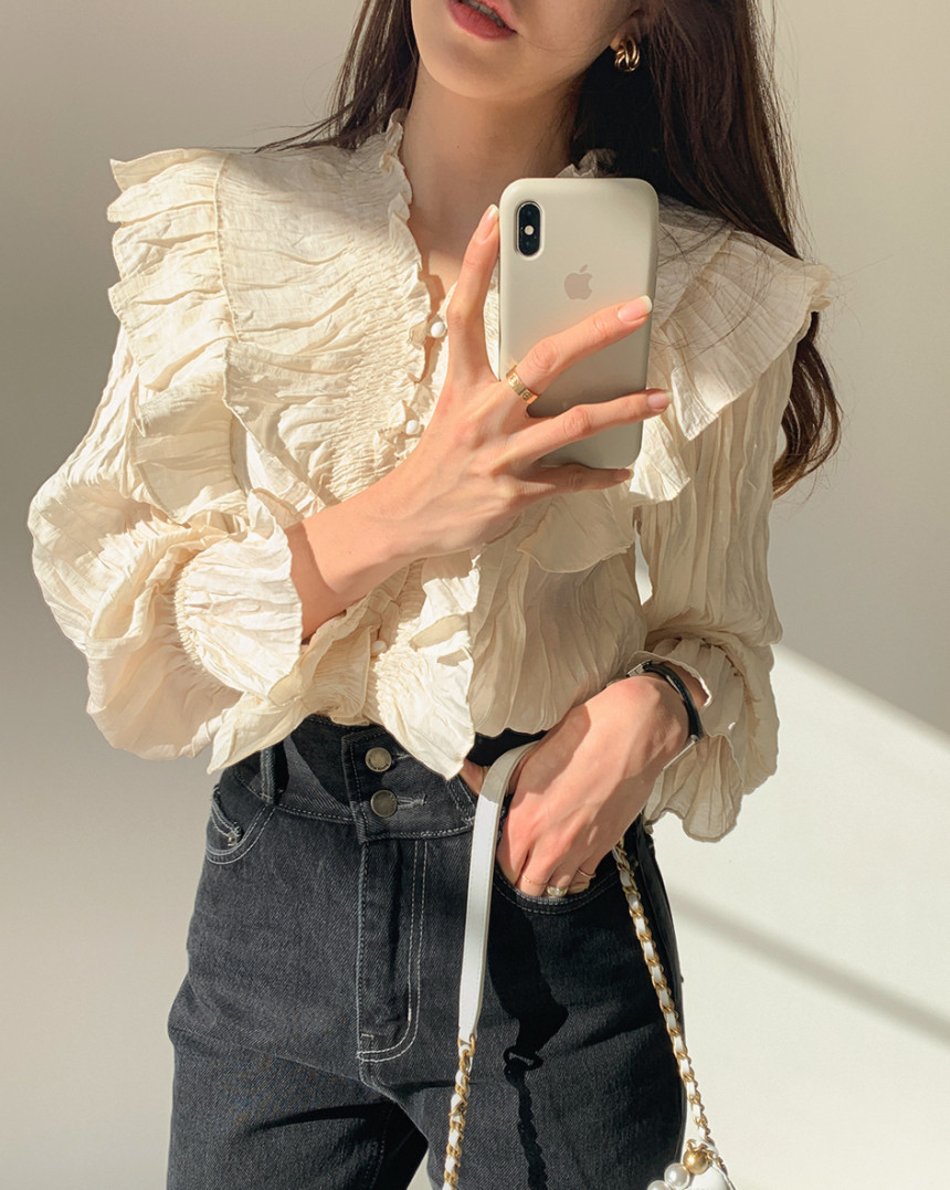 H249f611ff8b041708fadf6bb34c604b7e - Spring / Autumn V-Neck Long Sleeves Ruffles Pleated Solid Blouse