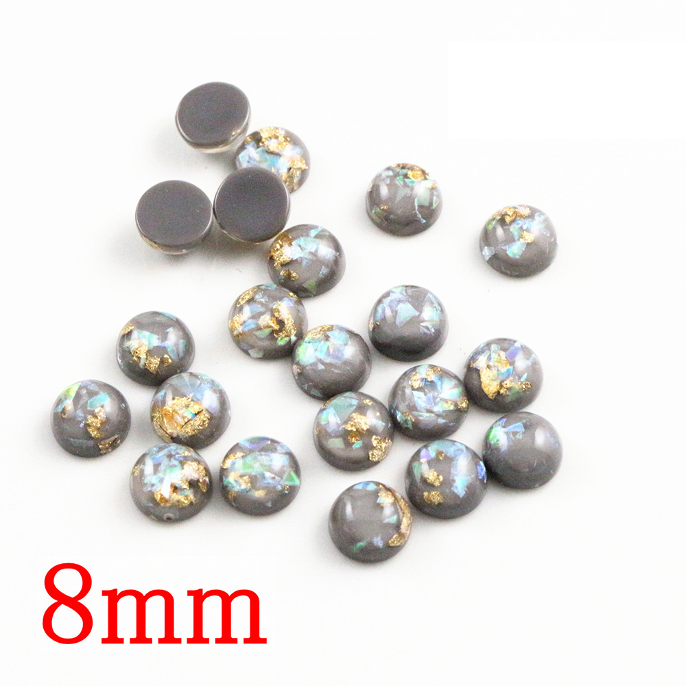 New Fashion 8mm 40pcs/Lot Gray Color Built-in Metal Foil Flat Back Resin Cabochons Cameo V7-33