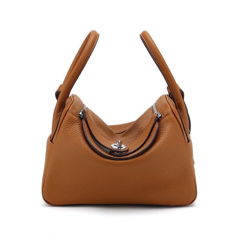 Docteur épaule femmes sacs Lychee en cuir véritable à la mode sac à main boîte fourre-tout livraison directe solide serrure décontracté fermeture à glissière seau Ins