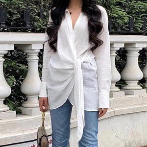 Elegant Lapel Shirts Women's Asymmetrical Blouse ZANZEA 2020 Casual Long Sleeve Tunic Female Lace Up Blusas Plus Size Tops 5XL