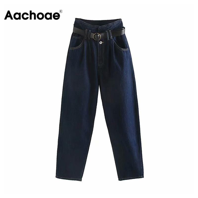 Fashion High Waist Jeans Women Paperbag Pants With Belt Streetwear Zipper Fly Pockets Denim Trousers Loose Long Jeans Pants