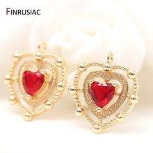 Позолоченные Красные Подвески в форме сердца с кристаллами 14