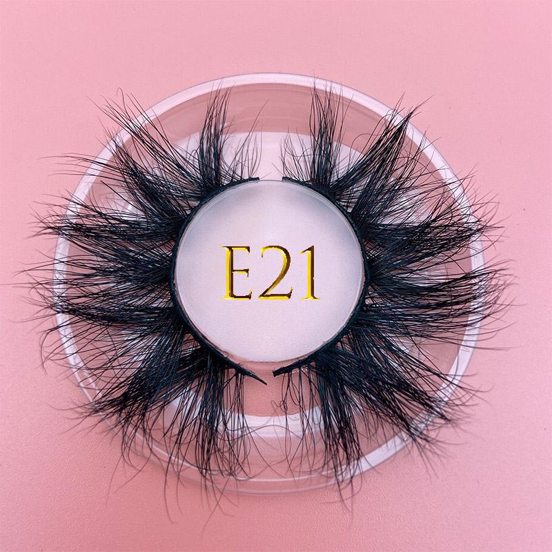 Mikiwi E21 25mm 3D Mink Eyelash Custom Soft Dramatic False Eyelash Packaging Label Makeup Lashes 100%  3D Handmade Wispy Eyelash