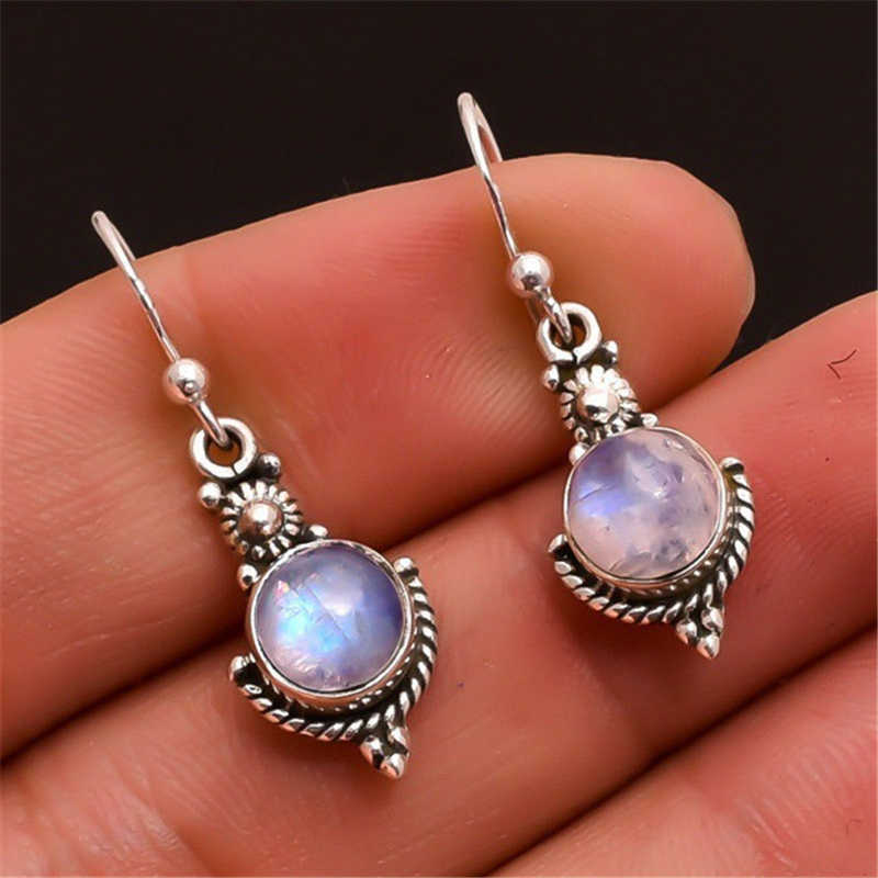 925 Sterling Sliver Moonstone Drop Earring for Women Retro Punk Natural Gemstone Wedding Silver 925 Jewelry Drop Garnet Earring