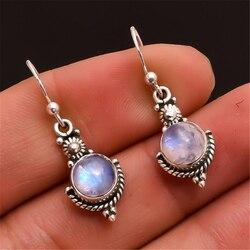 925 Sterling Silver Moonstone Drop Earring for Women fine Gemstone bijoux femme silver 925 Jewelry Drop Garnet oorbellen Earring