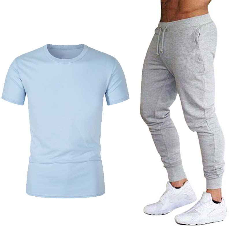 New Men's T-shirt + Pants Casual Sports Print Cotton Muscle Sports T-shirts And Jogging Pants Men's T-shirt Trend Shirt
