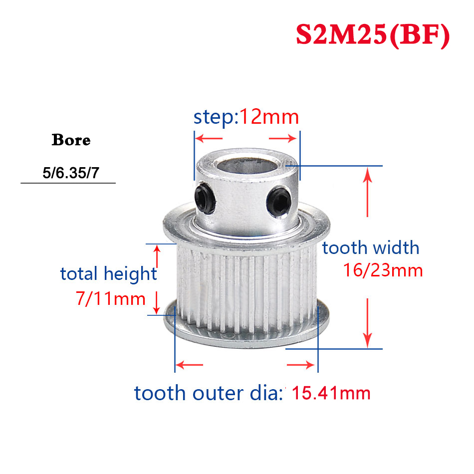 GT2 Timing pulley 30Teeth Bore 6.35mm for 6mm Belt for RepRap 3D printer LW 30T