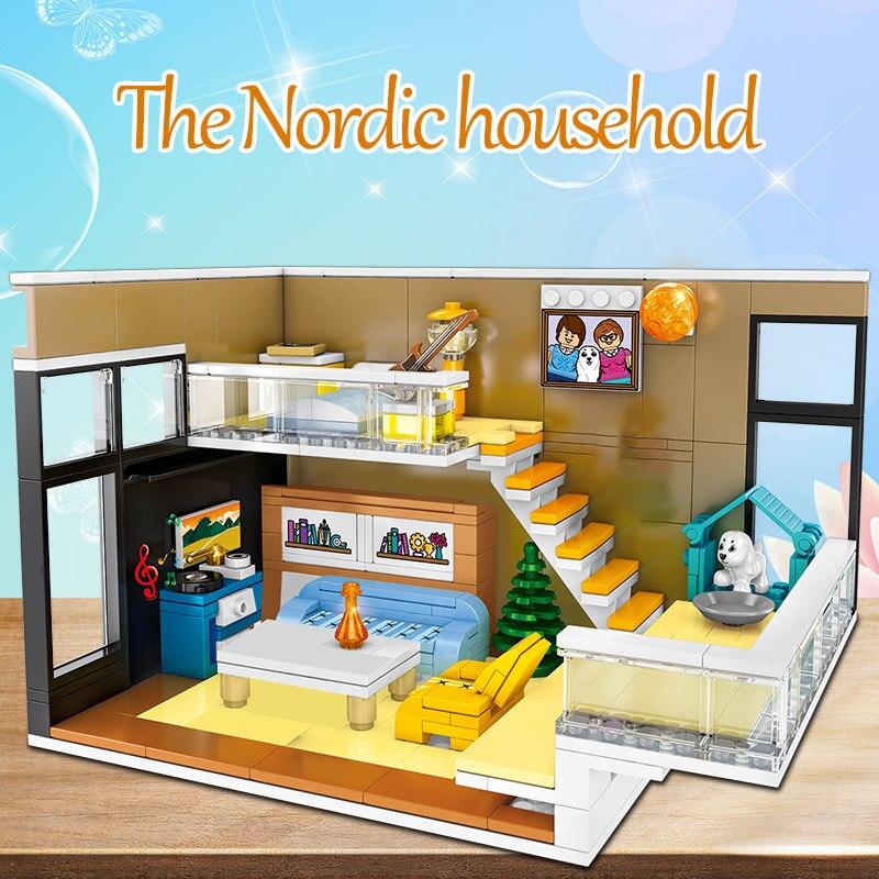 SEMBO Creative Nordic House Model Building Blocks