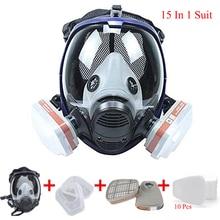 Chemische Maske 6800 15-In-1 Gas Maske säure staub Atemschutz Farbe Pestizid Spray Labor schweißen Silikon Volle schutz Maske