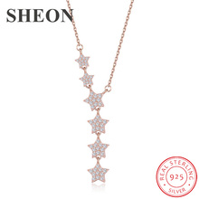 SHEON Authentic 925 Sterling Silver Dazzling CZ Tassel Star Pendant Necklaces for Women Jewelry Gift