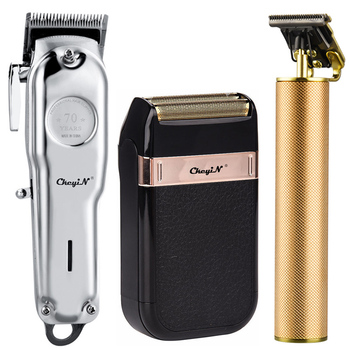 Professional Barber Hair Clipper Trimmer Men Rechargeable Electric T-Blade Finish Cutting Machine Beard Shaver Cordless Haircut professional hair trimmer rechargeable electric hair clipper cordless haircut adjustable blade hair cutting machine ceramic set