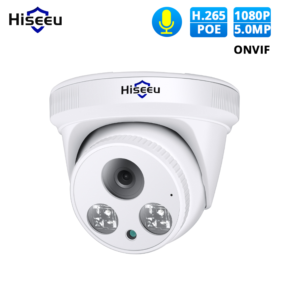 Hiseeu HD 2MP 5MP POE IP Camera Audio H.265 1080P Dome Security Indoor Surveillance Camera CCTV  Video Surveillance ONVIF