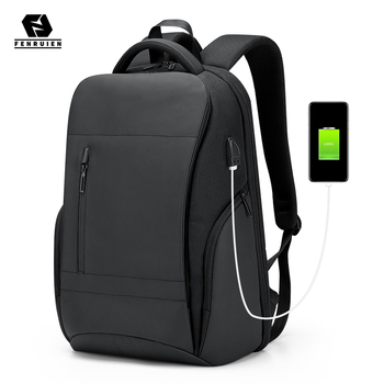 Fenruien Brand Men Business Travel Backpack Large Capacity 15.6 Inch Laptop Backpacks USB Charging Waterproof Backpacking Bag frn business usb charging bag men 17 inch laptop backpack waterproof high capacity mochila antitheft casual travel backpack bag