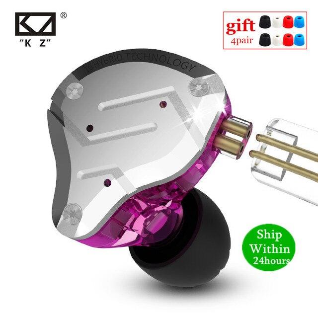 KZ ZS10 PRO 1DD+4BA HIFI Metal Headset Hybrid In Ear Earphone Sport Noise Cancelling Headset AS10 ZSN PRO CA16 ZSX C12 V90 VX T4