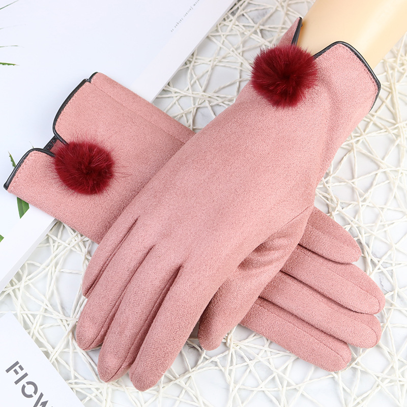 Winter Suede Gloves Girl's Touch Screen Mobile Phone Glove Inside Plus Velvet Thickening Outdoor Riding Lady Decorative Mittens
