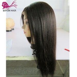 Image 4 - EAYON אור איטלקי יקי משי למעלה Glueless מלא תחרת פאות 5x4.5 יקי ישר פאות ברזילאי רמי שיער טבעי עם תינוק שיער