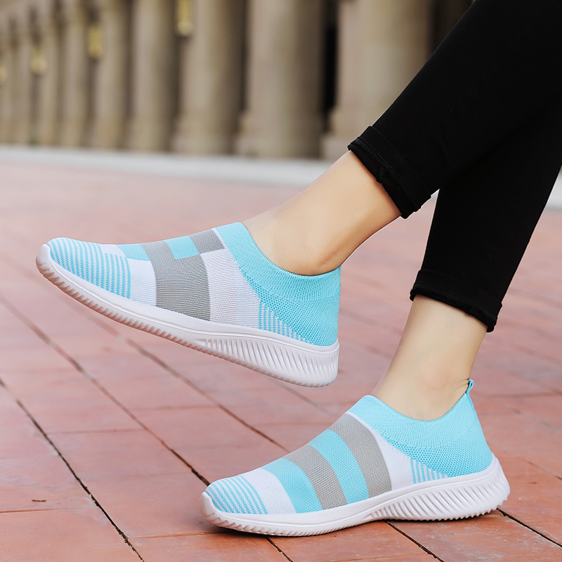 Women's Casual Vulcanized Shoes Woman Mesh Sneakers Women Knitted Flat Ladies Slip On Female Footwear Size 42 Feminino Zapatos 3