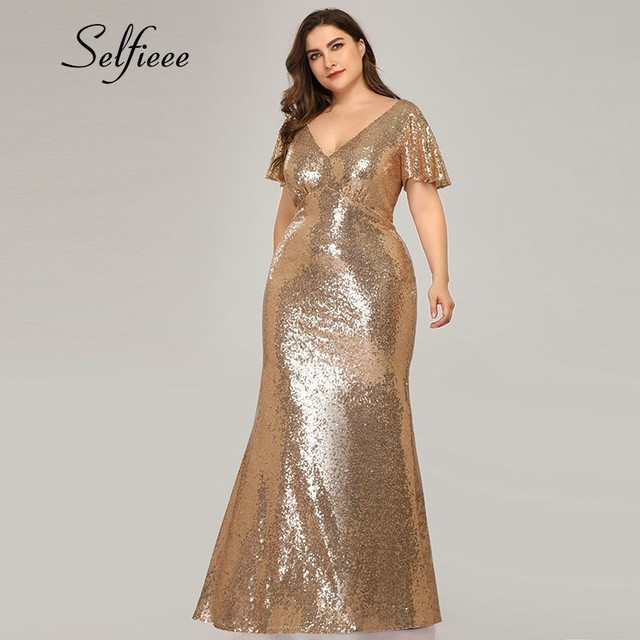 Plus Size Rose Gold Mermaid Women Dresses Short Sleeve Sequined V-Neck Bodycon Elegant Maxi Dresses For Party Robe Femme 2020 3
