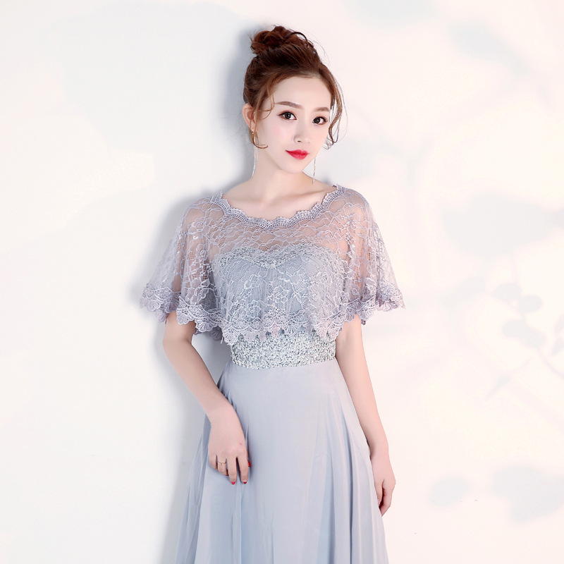 Bride Wedding Dress Evening Dress Shawl Yarn Marriage Dress For Toast Banquet Slimming Arm Women's Summer Versatile Lace Thin La