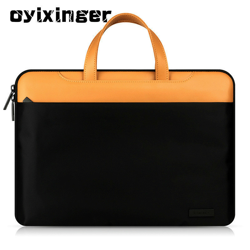 Fashion New Women Leather Luxury Handbags Men Computer Bags 11 12 13 15 Inch For Macbook Air Genuine Leather Laptop Bag Sac 2020