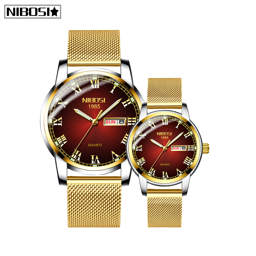 Relogio Feminino Gold Mens Women Watches NIBOSI Unique Design Luxury Stainless Steel Mesh Strap Men's Fashion Casual Date Watch