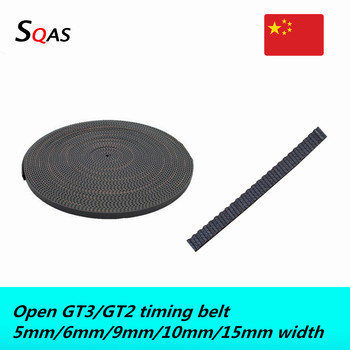 2GT 3GT Open Timing belt width 5/6/9/10/15mm Rubber Small Backlash GT2 GT3 for 3D printer image