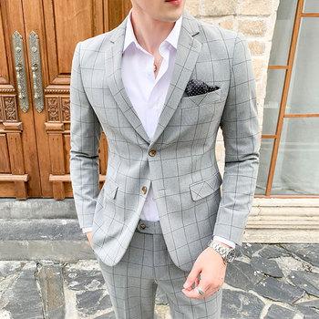 ( Blazer + Pants ) Suits for Men Fashion Boutique Plaid Wedding Dress Suit 2 pieces Formal Business Gentleman Suit S-5XL jacket vest pants 2017 autumn high quality jacquard men suits fashion embroidered suits men s business wedding suit men s 5xl