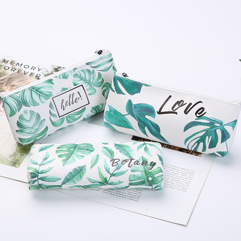 Kawaii School Student Pencil Case Cute Small Green Turtle Leaf Stationery Pencilcase Pen Bag Box Gifts Supplies