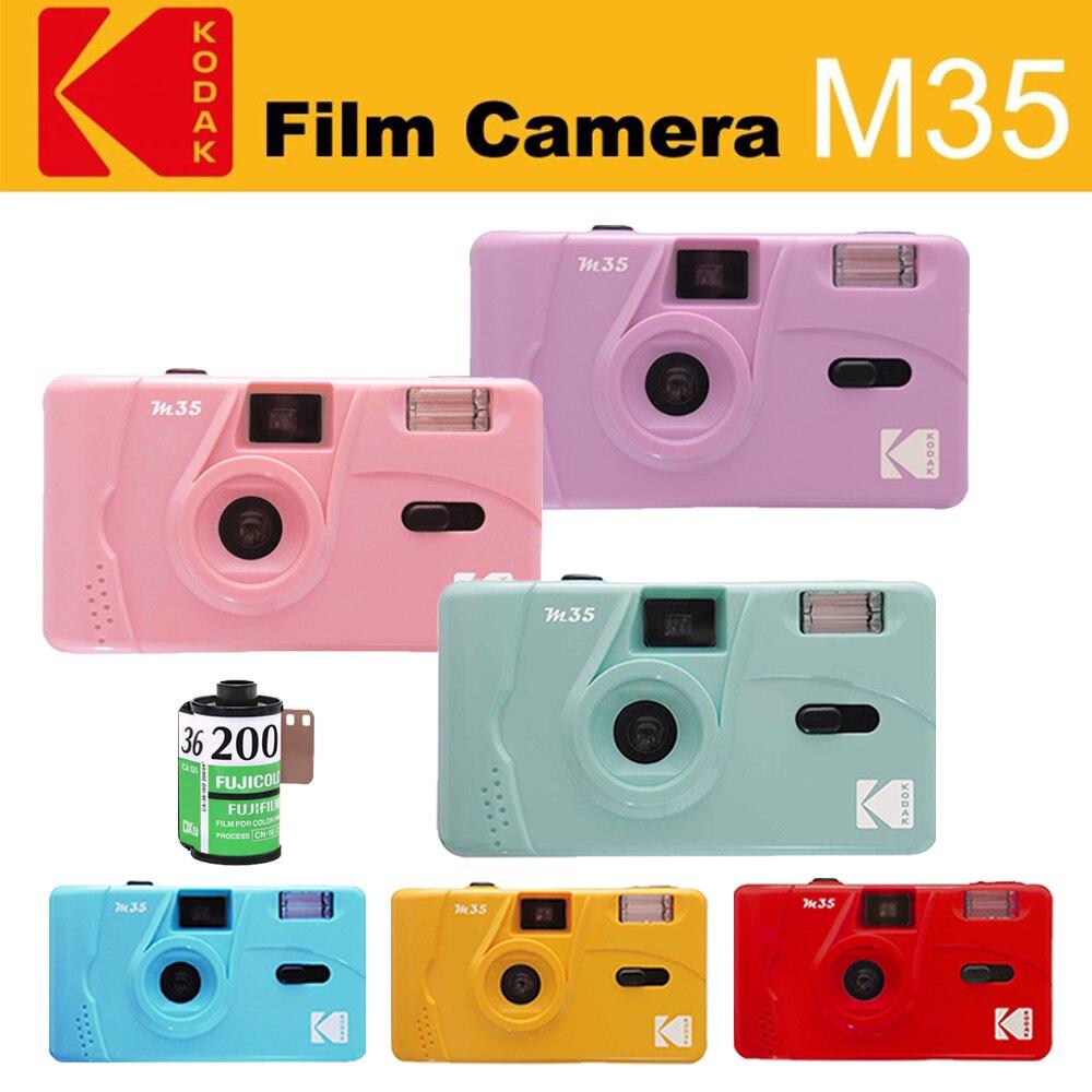 Винтажная ретро-камера KODAK M35 35 мм многоразовая пленка Розовая/зеленая/синяя с цветной пленкой FUJIFILM C200 135-36 35 мм (срок годности 2022,10)