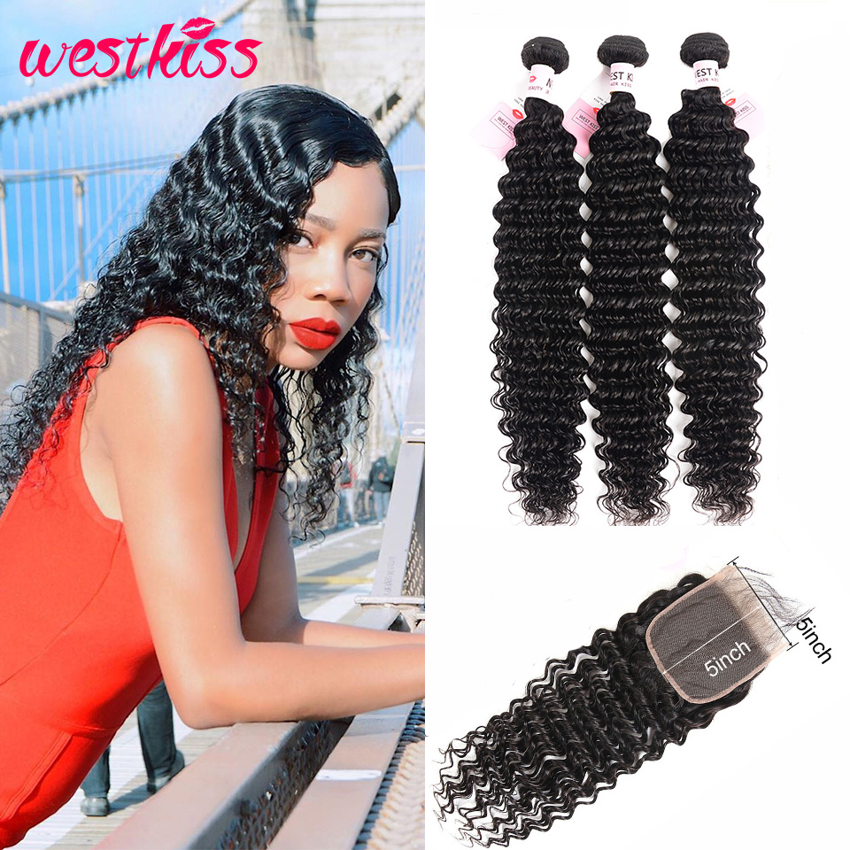 Brazilian Deep Wave Bundles With Closure Swiss Lace 5x5 Closure With Bundles West Kiss Remy Hair Bundles With Lace Closure
