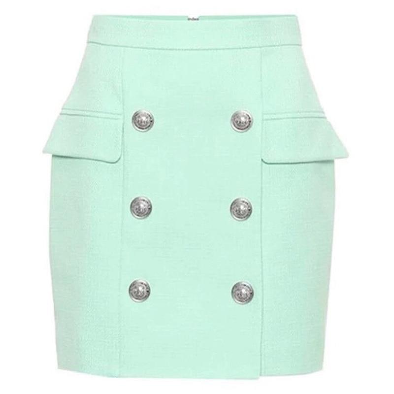 HIGH STREET 2021 Newest Designer Skirt Women's Lion Buttons Double Breasted Mini Skirt