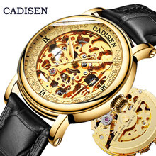 CADISEN Men Watches Top Luxury Brand Automatic Mechanical Watch 8N24 Hollow out Golden Leather Casual Business Retro Wristwatch forsining golden skeleton mechanical watches men luxury brand watch automatic stainless steel casual wristwatch hollow out clock