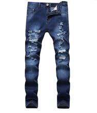 купить 2019 Homme Washed  Ripped Mens Hip Hop Pants Jeans Blue Men's Denim Biker Jeans Fashion Skinny Men Jean Slim Elastic Jean онлайн