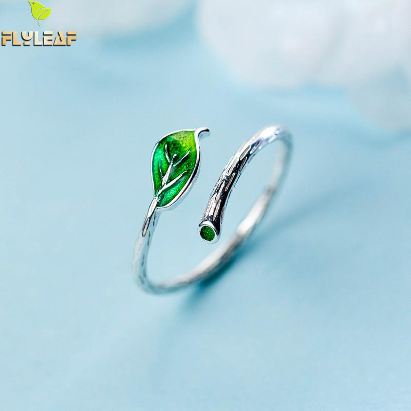 Flyleaf Glazed Glaze Branch Green Leaf Real 925 Sterling Silver Rings For Women Fashion Fine Jewelry Open Ring High Quality