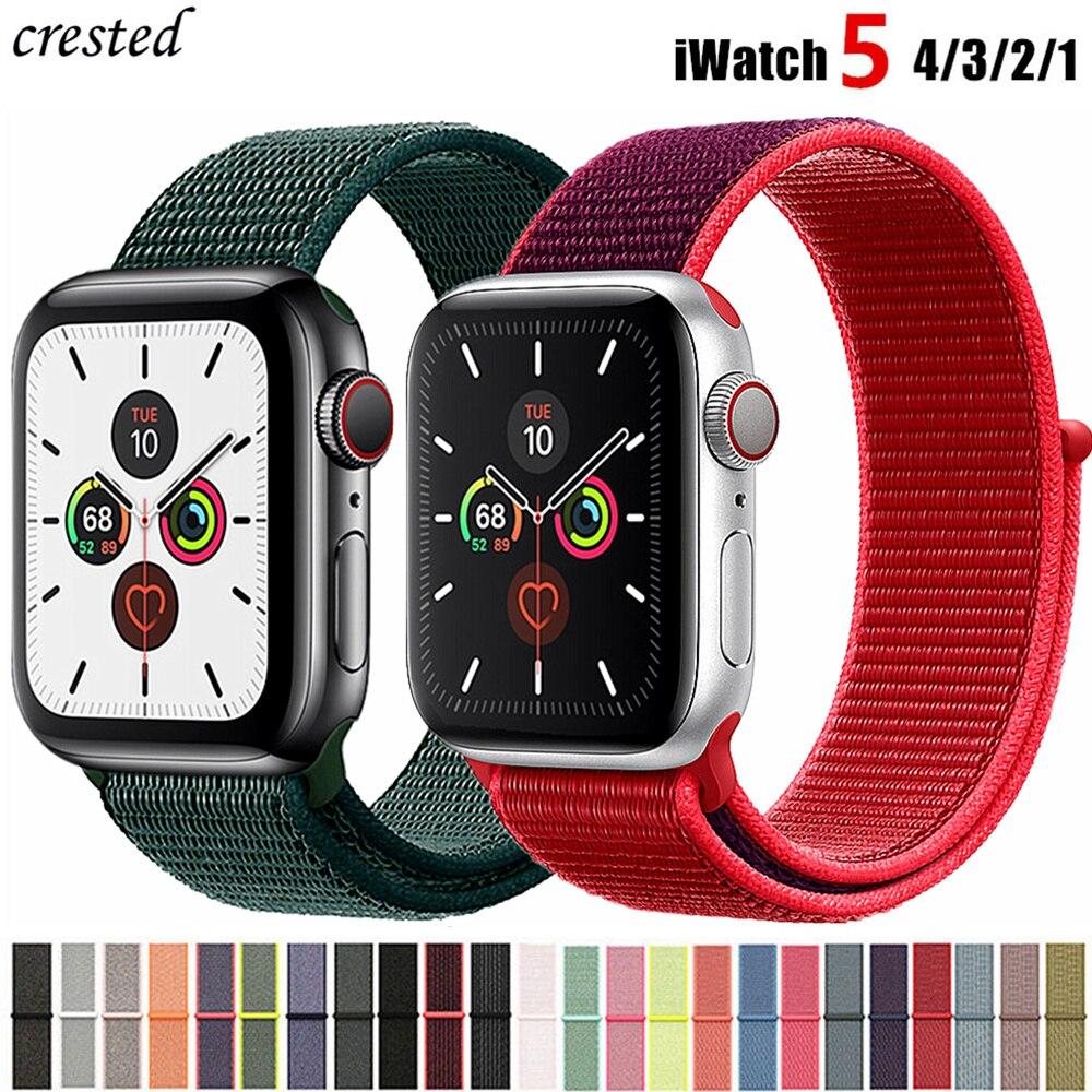 Correa de nailon para Apple watch 5 banda 44mm 40mm iWatch Correa 42mm 38mm deporte Loop reloj pulsera Apple watch 4 3 2 1 38 40 44mm