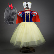 Girls Snow White Princess Dress Kids Christmas Costume with Cloak Children Halloween Carnival Party Cosplay Dress xb17 2018 sexy christmas costume red white wetlook faux leather exotic dress cosplay halloween uniform with white fur red hat