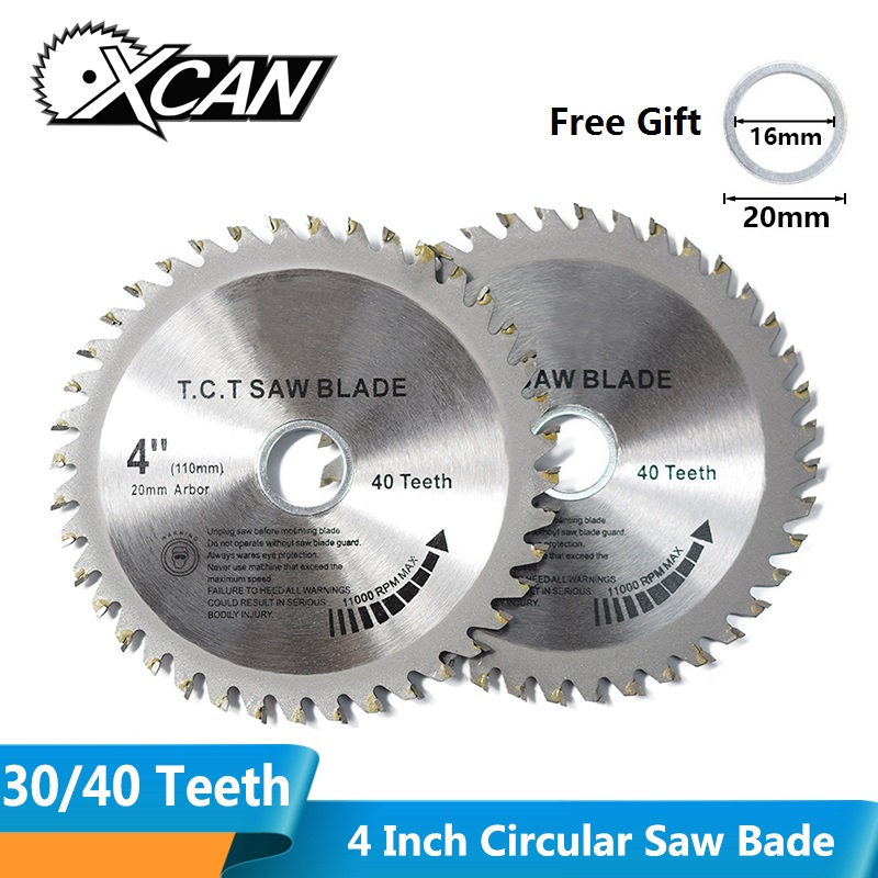 XCAN 1pc 4'' 30/40 Teeth TCT Woodworking Circular Saw Blades Multipurpose Wood Saw Blade Cutting Disc