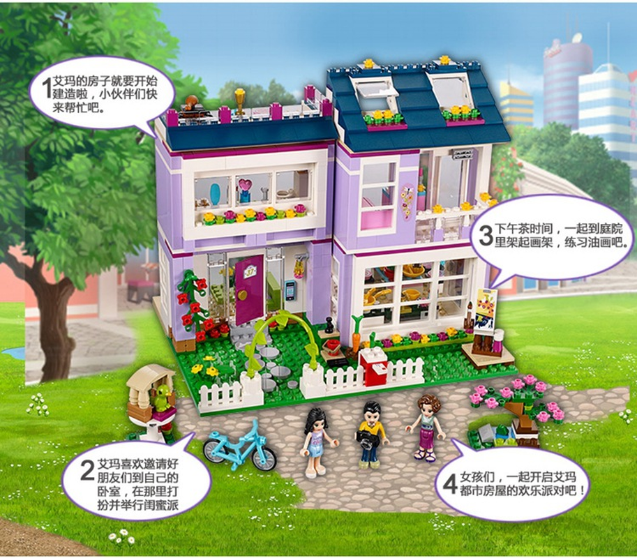 Image 3 - 10541 Compatible with Legoinglys Friends Emma's House 41095 Building Blocks Emma Mia Figure Educational Toys For Children Girl-in Blocks from Toys & Hobbies