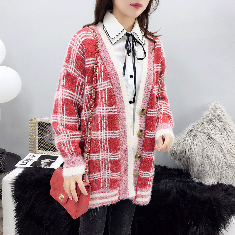 Women Winter Cardigan Sweater Knitted Korean version knitted jacket 2019 hippocampus Wool Plaid long section autumn Wear Loose 3