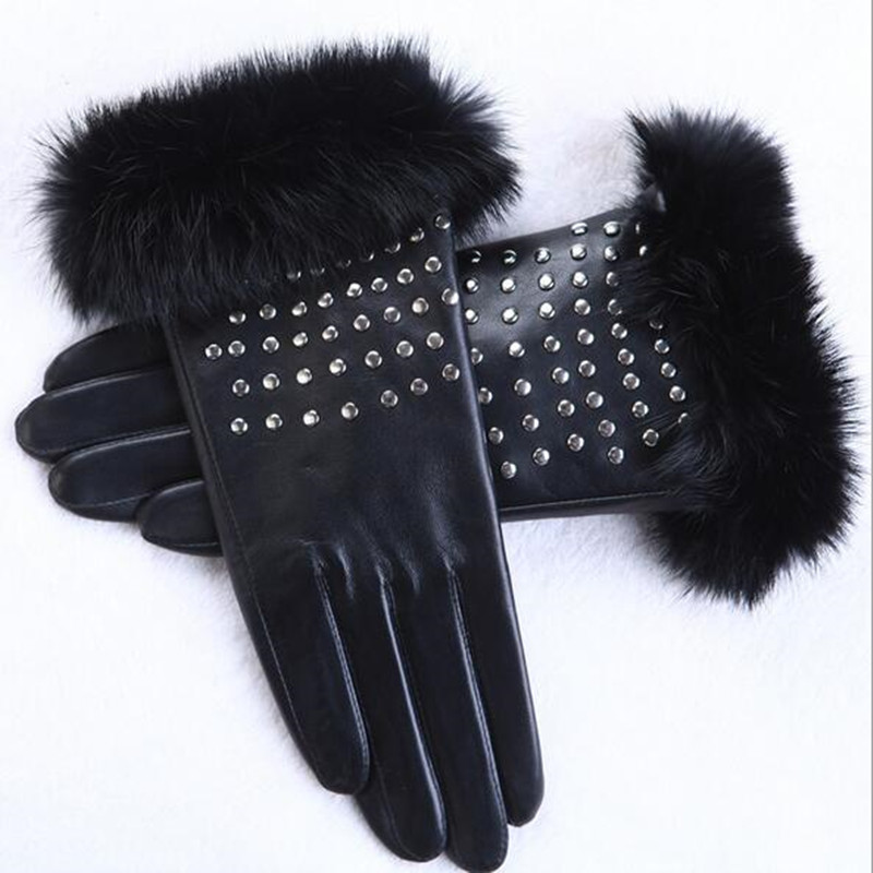 Women Imported Sheepskin Gloves Real Fox Fur Gloves Fashion Rivets Winter Driving Gloves Genuine Leather Gloves Women AG-17