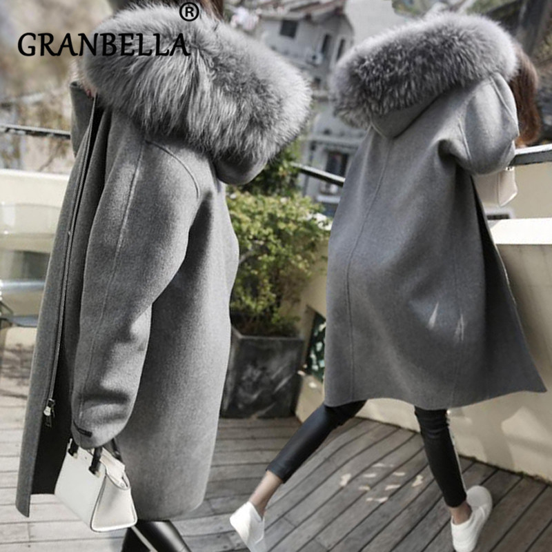 New Thick Medium and Long Women Woolen Coat Hooded Faux Fur Collar Full Sleeve Warm Winter Classic Overcoat