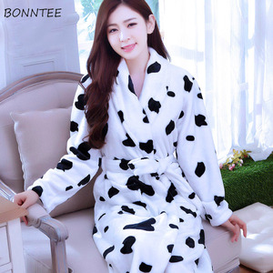 Image 2 - Robes Women Winter Sleepwear Thicken Long Bathrobe Womens Flower Flannel Kimono Nightwear Warm Soft Full Sleeve Print Cartoon