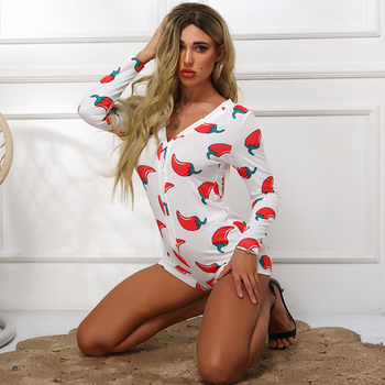 Novel Style Chili Printed Short Jumpsuits Long Sleeve Casual V-neck Bodycon Romper Slim Stretch Sexy Autumn Christmas Playsuits 3