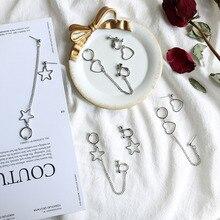 Asymmetric Empty Pentagram Star Love Heart Chain Pendant Earrings Hip Hop Cool Girl Rock Disco