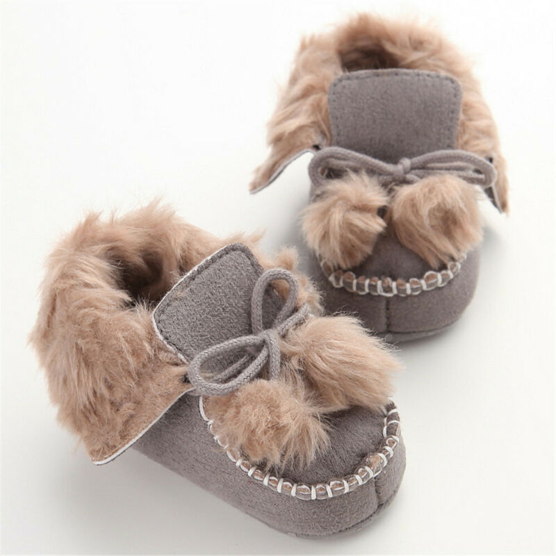 Toddler Newborn Kids Baby Girls Boys Lace-up Pompom Winter Warm Fur Crib Shoes Soft Soled Shoes Prewalker