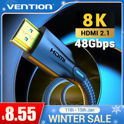 Vention HDMI Cable 2.1 8K/60Hz 4K/120Hz 48Gbps Digital Cable for PS4 TV Box HDR10+ 1m 2m 3m Cable HDMI Splitter 8K HDMI 2.1