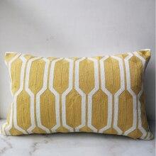 30x50cm funda de cojín Vintage amarillo geométrico algodón bordado almohada con para sofá cama hogar decorativo 12 pulgadas x 20 pulgadas suave